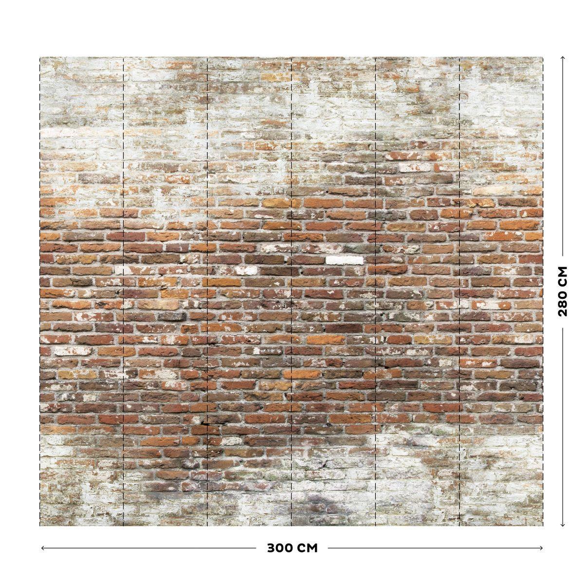 Mur Effet Brique Blanche papier peint panoramique mur briques - taille : taille