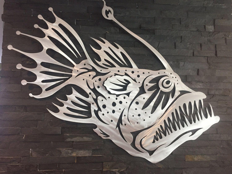 Angler fish metal wall art home decor garden aluminum