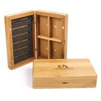 Maxcatch 2pcs New Bamboo Fly Box With Four Compartments Magnetic Wooden Fly Fishing Box