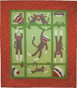 Full Size Sock Monkey Quilt pattern book - other items / sizes in ... : monkey baby quilt pattern - Adamdwight.com