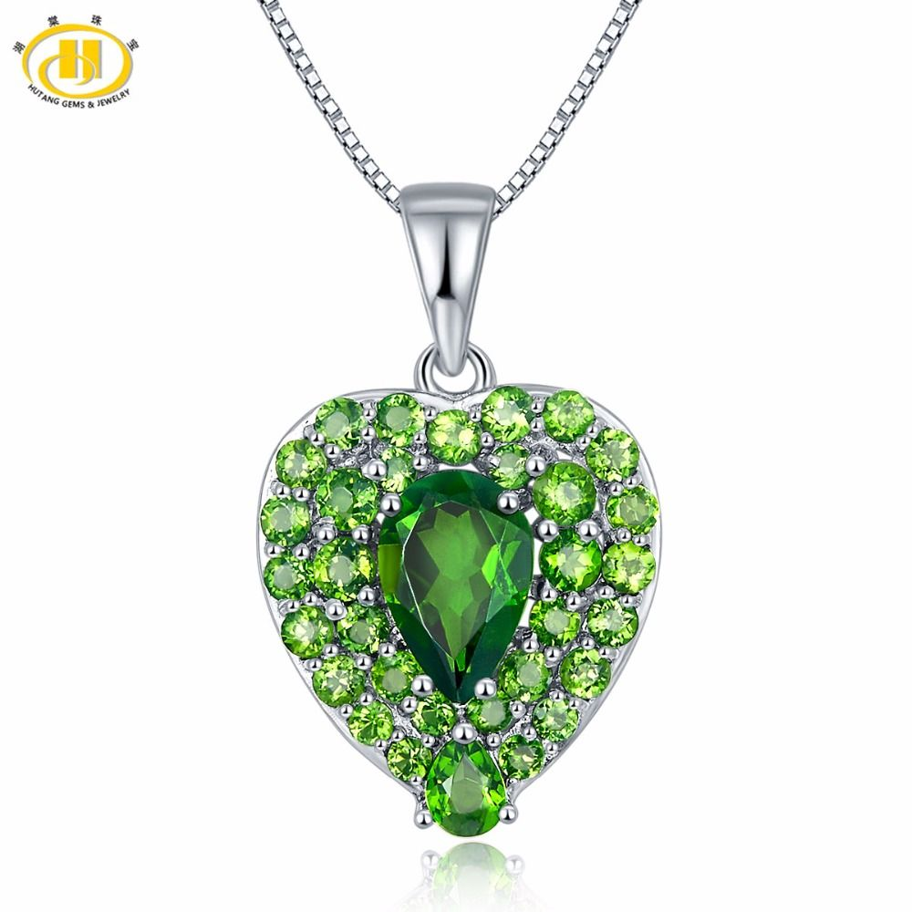 Hutang solid 925 sterling silver 275ct natural gemstone chrome hutang solid 925 sterling silver 275ct natural gemstone chrome diopside heart pendant necklace fine aloadofball Images