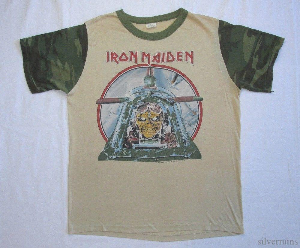 f23c25d2 IRON MAIDEN Vintage T Shirt 80's Tour Concert 1984 Aces High Camo Sleeves  M/L #NoNameBrand #BasicTee