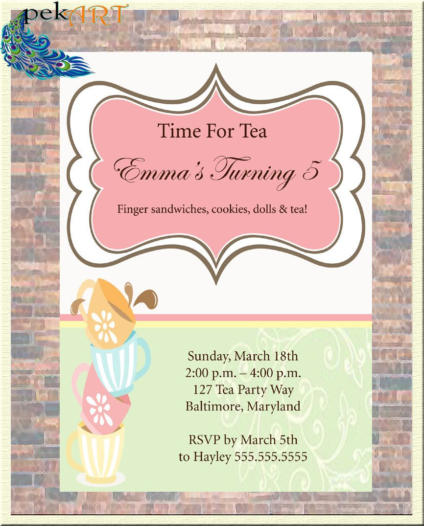 Tea party birthday invitation personalized with your party details tea party birthday invitation personalized with your party details by pekart on etsy stopboris Image collections