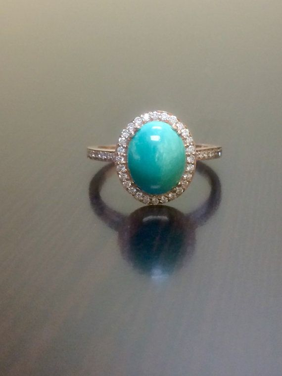 14k Rose Gold Turquoise Halo Diamond Engagement Ring Wedding