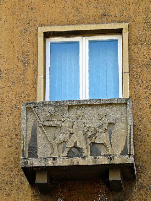 Communist Propaganda on balcony - Piac utca - Debrecen Hungary | by temp13rec.