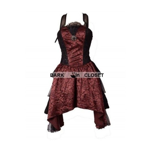 Pentagramme Wine Red Halter Short Gothic Party Dress with Irregular... ($97) ❤ liked on Polyvore featuring dresses, red halter cocktail dress, red cocktail dress, short red cocktail dress, short dresses and gothic lolita dress