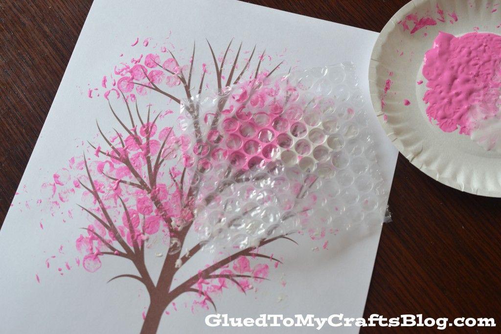 Bubble Wrap Print Cherry Blossom Tree Kid Craft Idea For Spring Bubble Wrap Art Cherry Blossom Art Cherry Blossom Tree