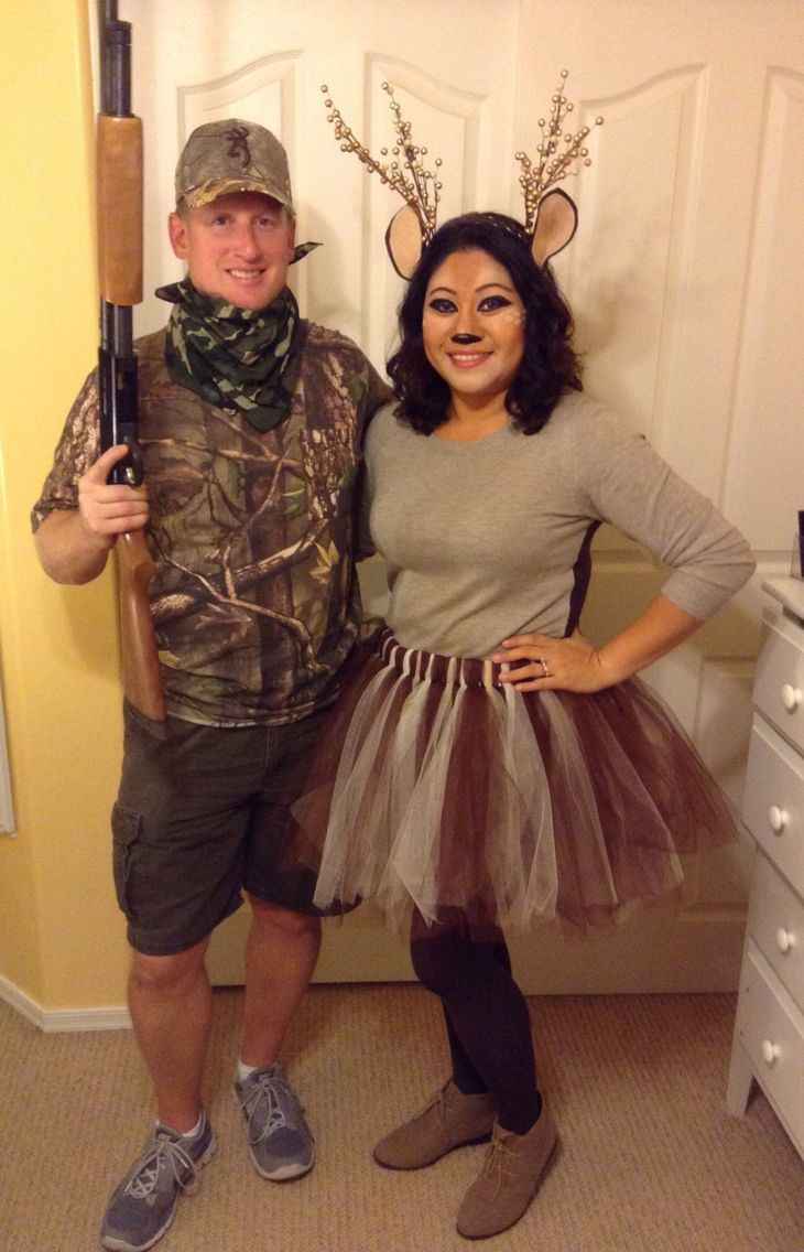 DIY Hunter Deer Halloween Costume for Couples easy last minute  cheap  DIY Hunter Deer Halloween Costume for Couples easy last minute  cheap