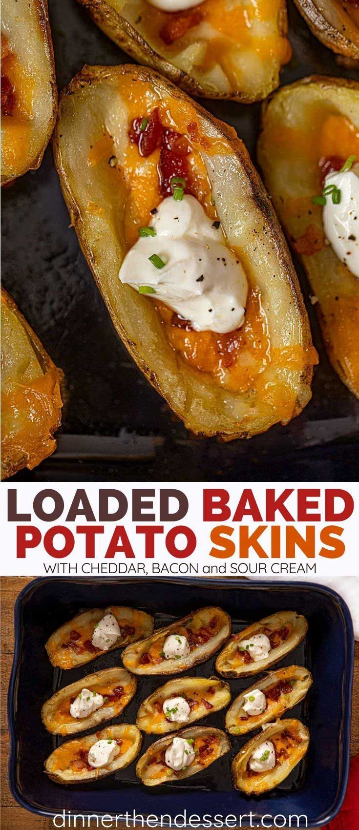 Loaded Potato Skins made with cheddar cheese, bacon, and sour cream are the PERF... Loaded Potato S
