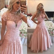 Charming Floor Length Princess Prom Dress - Pear Pink Crew Cap Sleeve with Appliques
