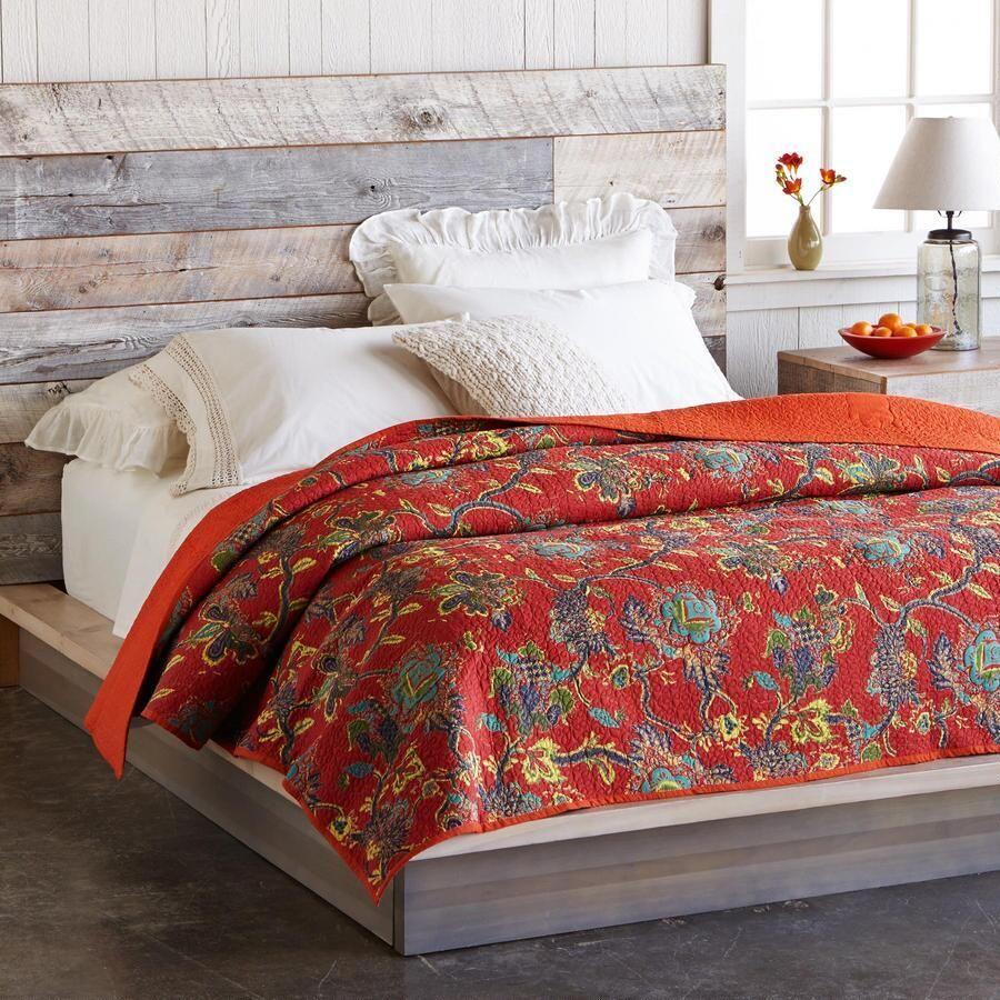 India Artisan Bohemian Red Full Size Bed Throw Quilt