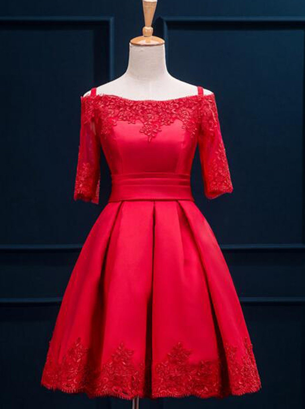 Red homecoming dresseshomecoming dress with short sleevesmodest