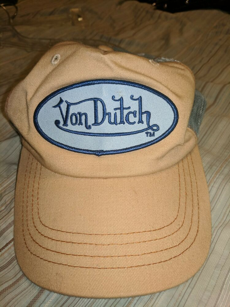 476e58d4d Authentic Von Dutch Baby Blue mesh on Tan Cap Hat Trucker Mesh ...