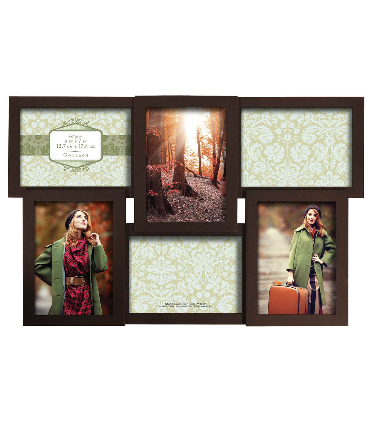Dimensional Collage Wall Frame with 6 Openings 5\'\'x7\'\'-Walnut ...