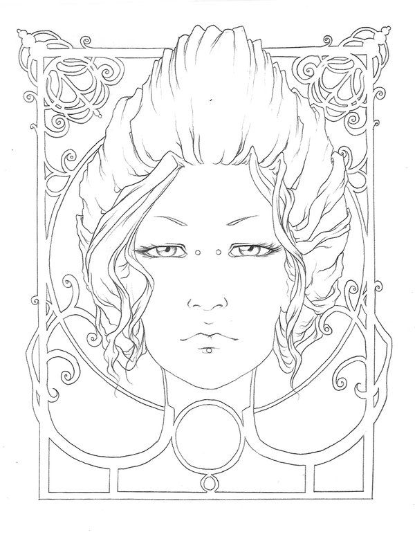 A Simple Line Art Inspired From Mucha Here Is The Colored Piece And The Original Picture Coloring Pages Animal Coloring Pages Pattern Coloring Pages