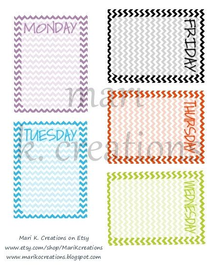 Chevron Days of the Week 3x4 Journal Cards -PDF Download. $2.00, via Etsy.