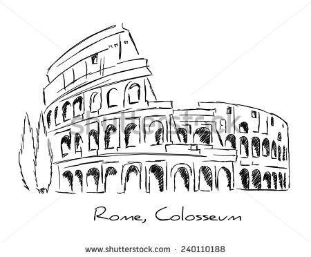 Rome colosseum colosseo pen pencil hand drawing for Colosseo da colorare