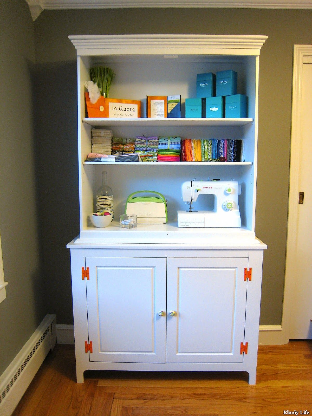 Dining Room Hutch Refinished For Craft Storage Unconventional Solution Via Rhody Life