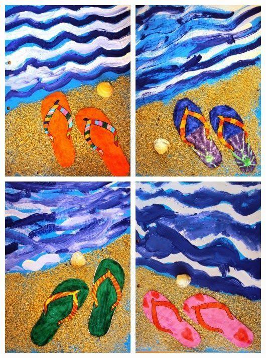 Flip flops and beach | Elementary art projects, Summer art