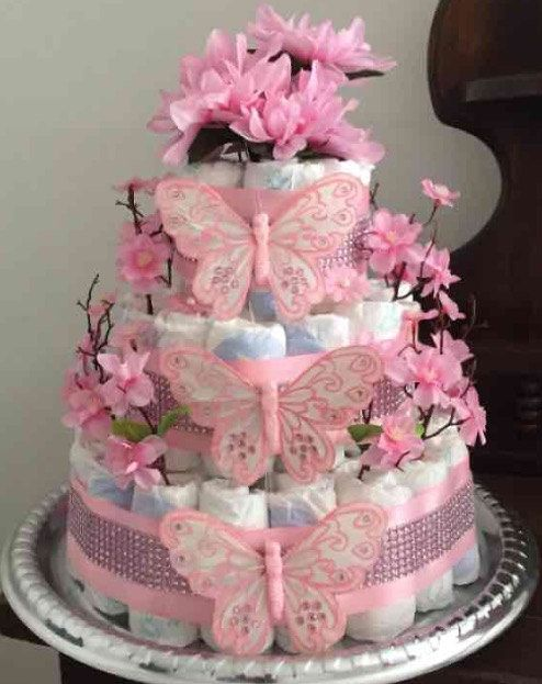 Baby Shower Girl Diaper Cake By Tinkerbella9193 On Etsy