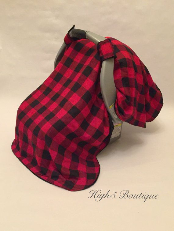 Boutique Infant Boys Car Seat Cover Tent Canopy Red Black Plaid