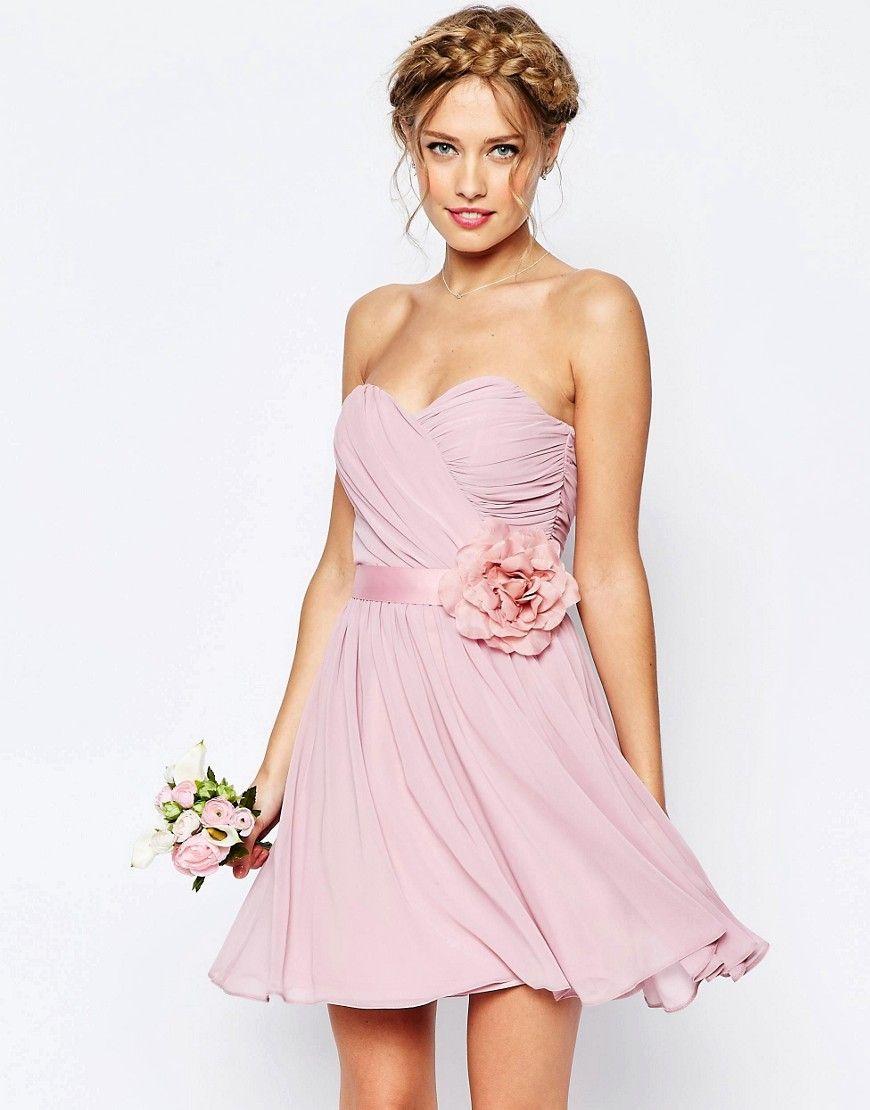 DESIGN – Bridesmaid – Trägerloses, Mini-Chiffonkleid mit abnehmbarem ...