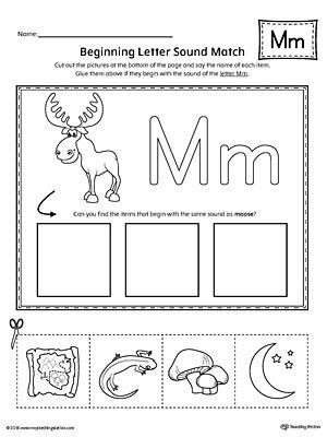 Letter M Beginning Sound Picture Match Worksheet