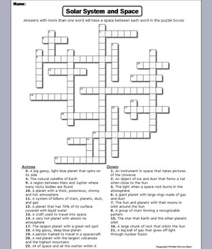 Solar System and Planets Worksheet/ Crossword Puzzle ...