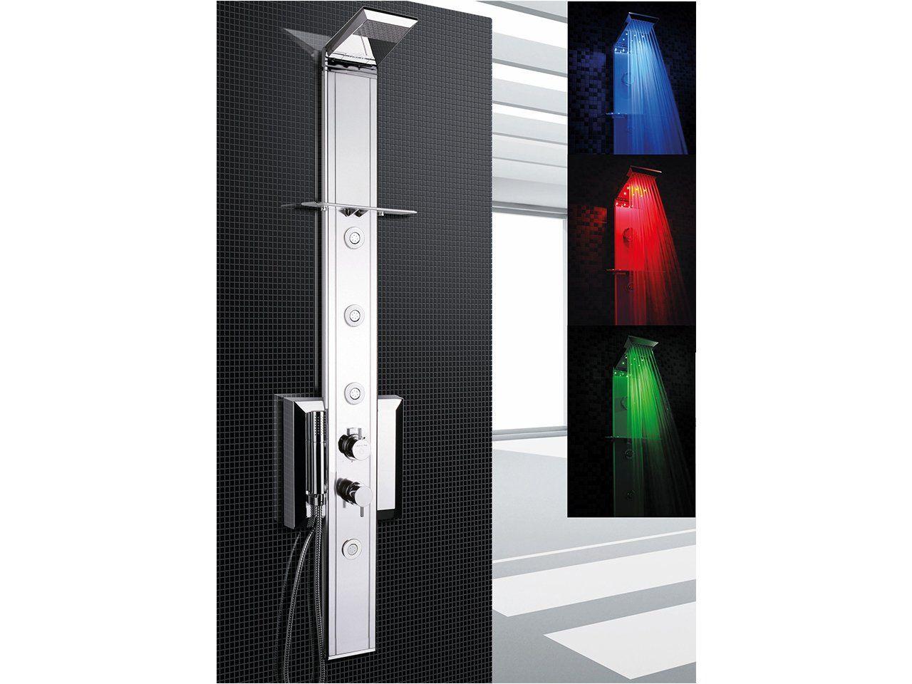 Pannello doccia prisma 140 a led cromo termostatico for Doccia iperceramica