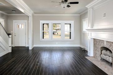 Herringbone Brick Fireplace Dark Floors Light Gray Walls Craftsman Style Trim Dream Home