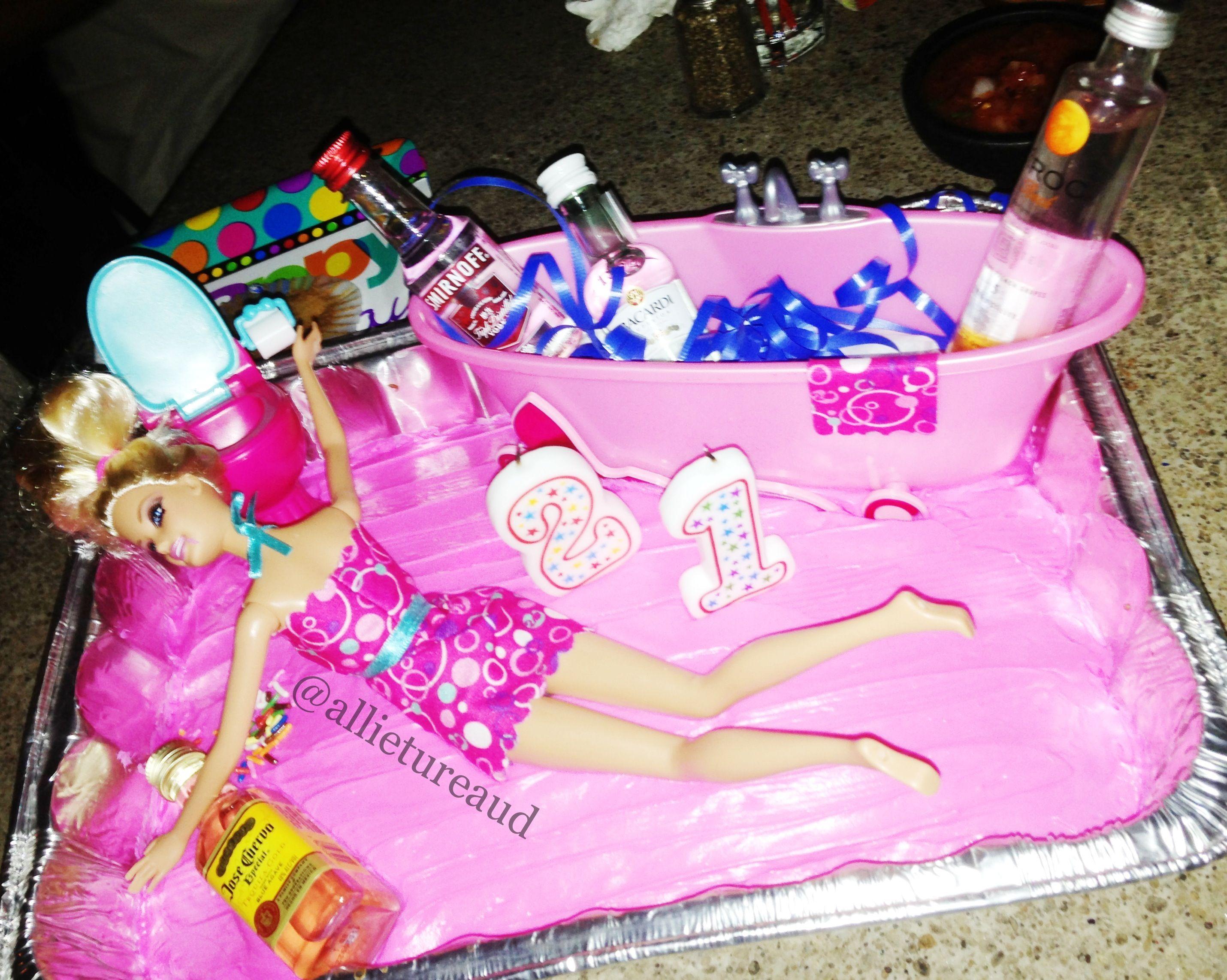 Cake I Made Drunk Barbie White Girl Wasted Wgw Drunk 21 Barbie