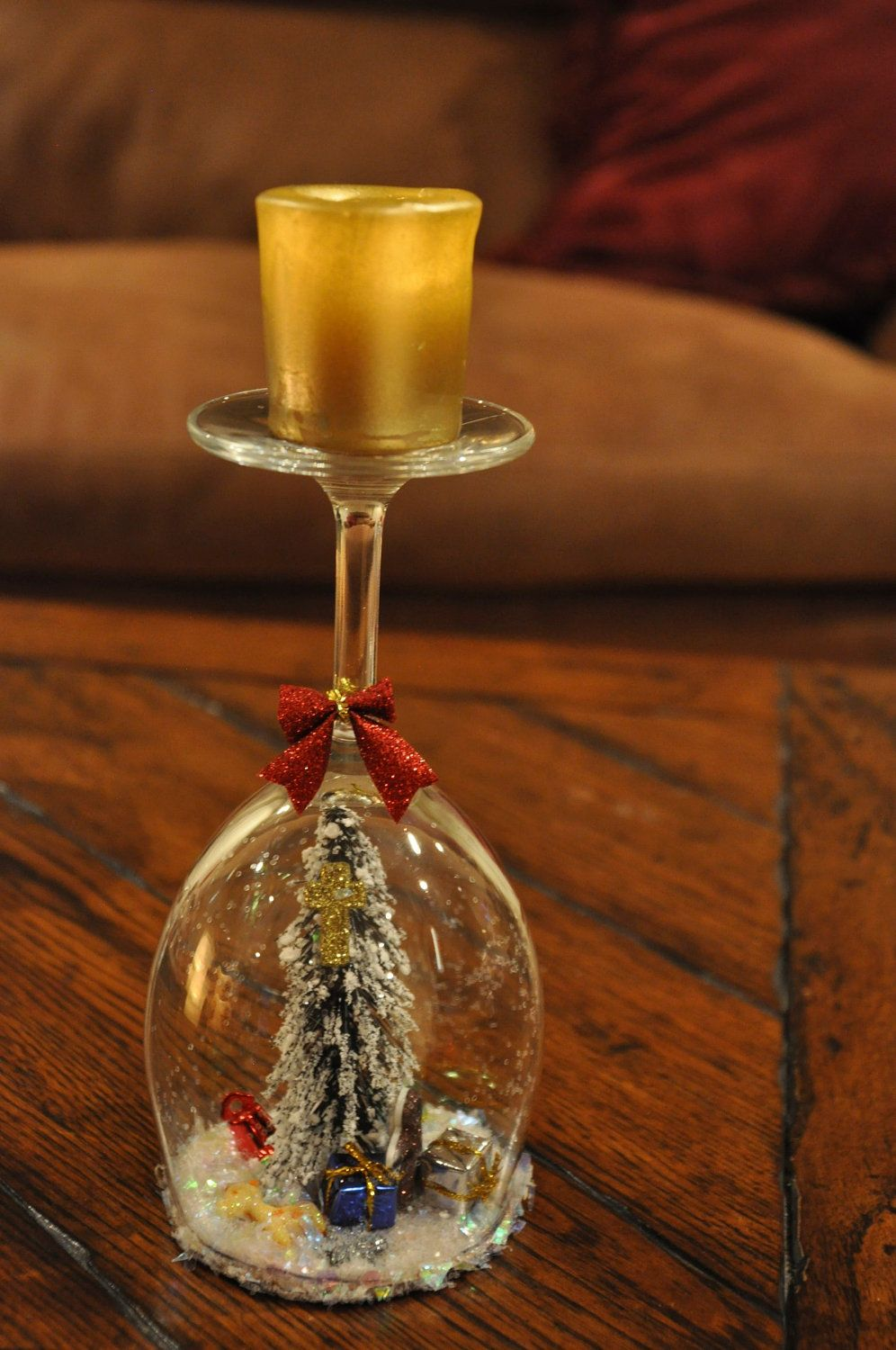 Natures Christmas White Wine Glass Candle Holder 25 00