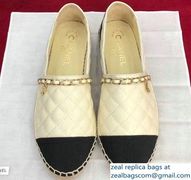 0ec4185c317 Chanel Lambskin and Grosgrain Quilting Chain Espadrilles G33351 Beige Black  2018