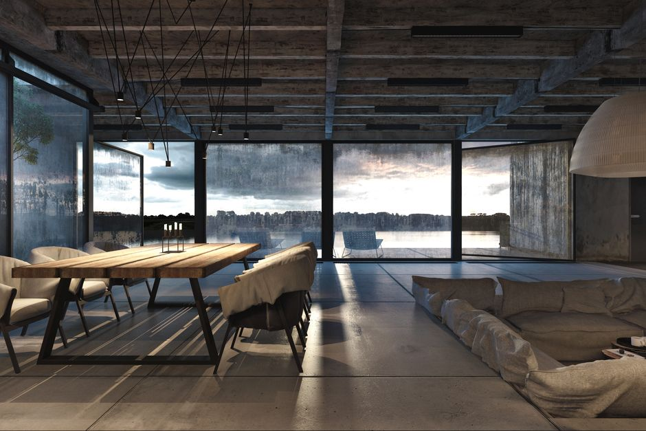 exposed concrete walls, steel girder ceilings and barely-there