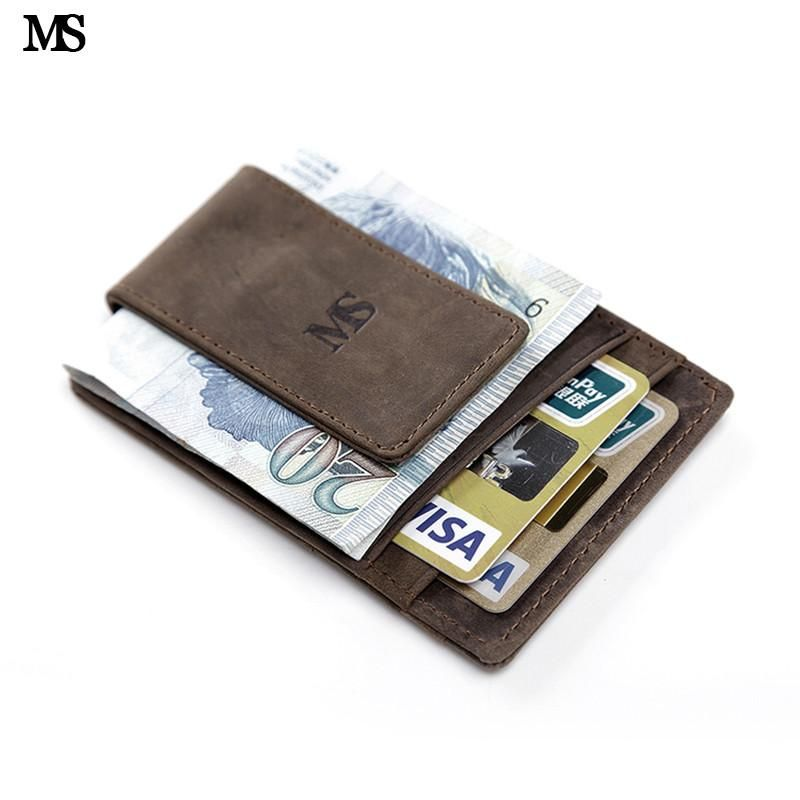 601ae02fc248 MS Hot Sale Men Genuine Leather Wallet Business Casual Credit Card ID  Holder With Strong Magnet Money Clip Brown K308