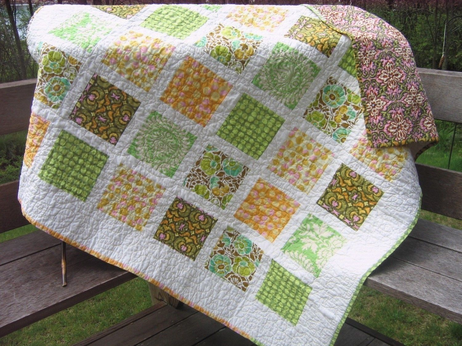 Quilt pattern fat quarters quick easy beginner fast pdf for Window pane quilt design