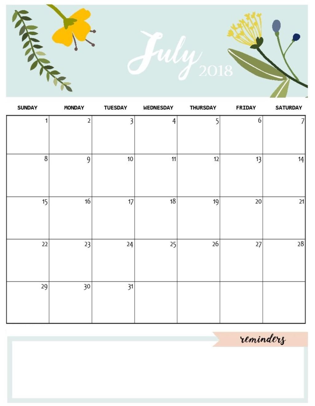 cute july 2018 calendar template