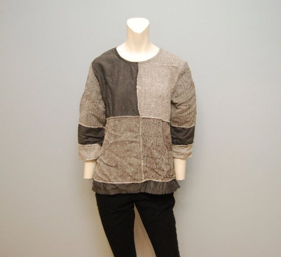 Vintage 1990's Bohemian Textured Gray Patchwork Geometric Top Shirt Blouse - Post Apocalyptic Chic - Grunge Hippie Oversized Size Small