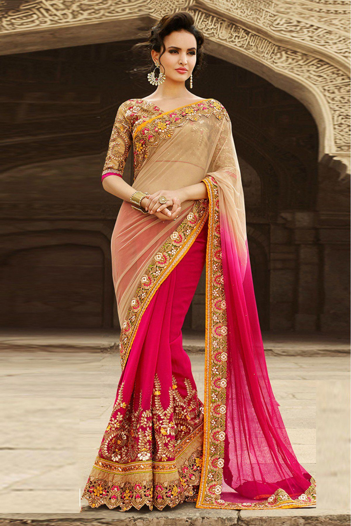 71f6649e95 Buy Half N Half Georgette Saree In Beige And Pink Colour for women @  ninecolours.com. Worldwide Free Shipping Available!