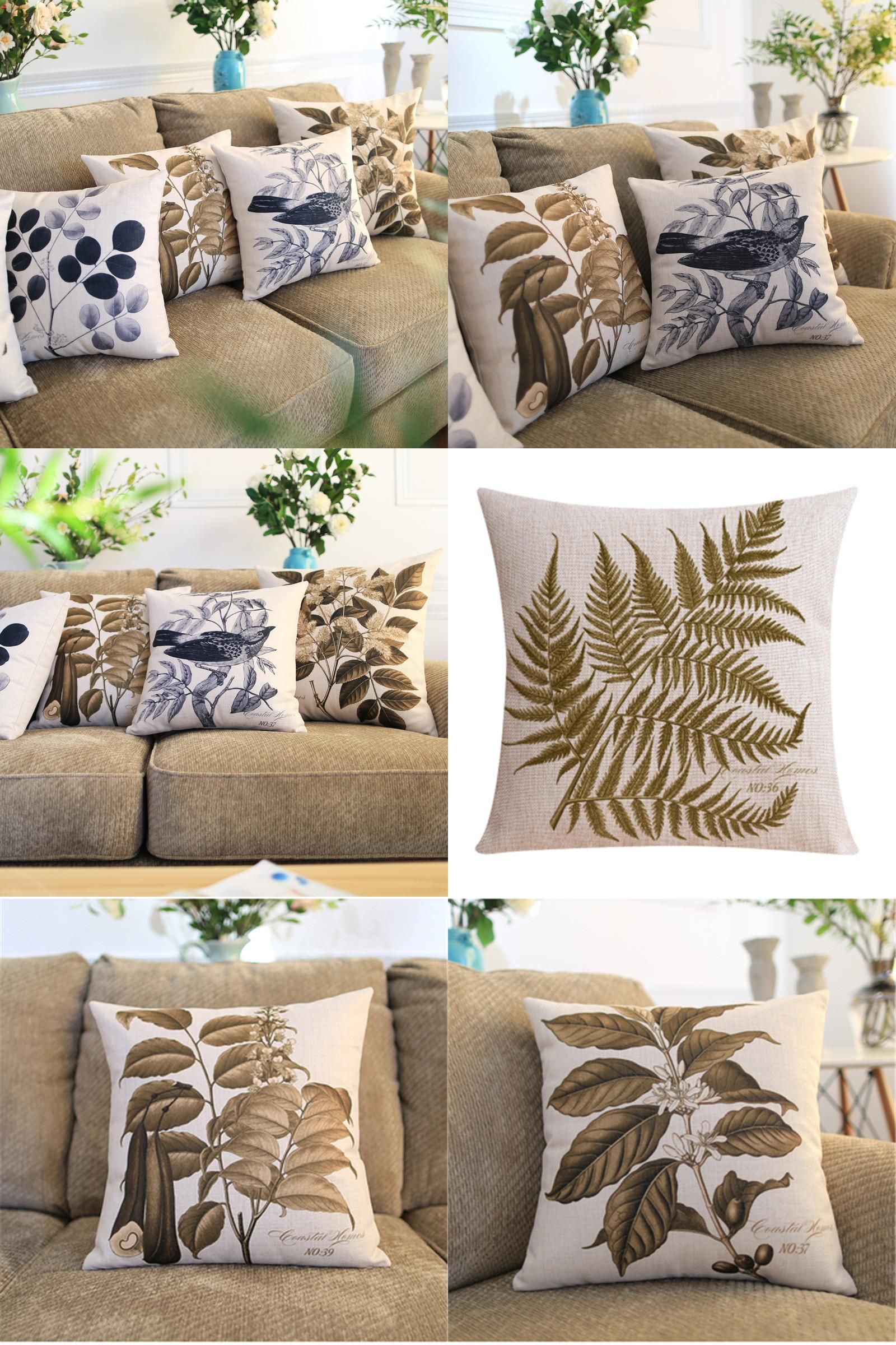 Visit to buy decorative throw pillow cover case brown leaf bird