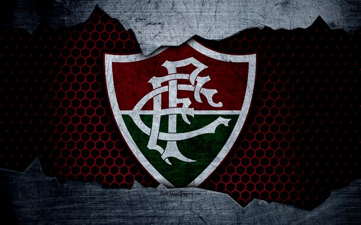 Download Wallpapers Fluminense, 4k, Serie A, Logo, Grunge