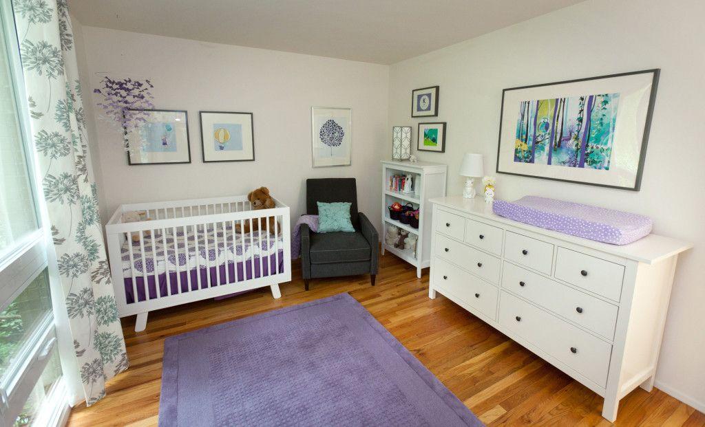 A Purple Aqua And White Nursery