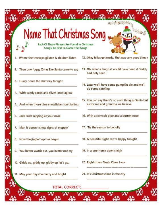 Christmas Carol Game, DIY Christmas Song Game, Christmas Music Game, Printable Christmas Games, DIY Holiday Games, Xmas - Printables 4 Less