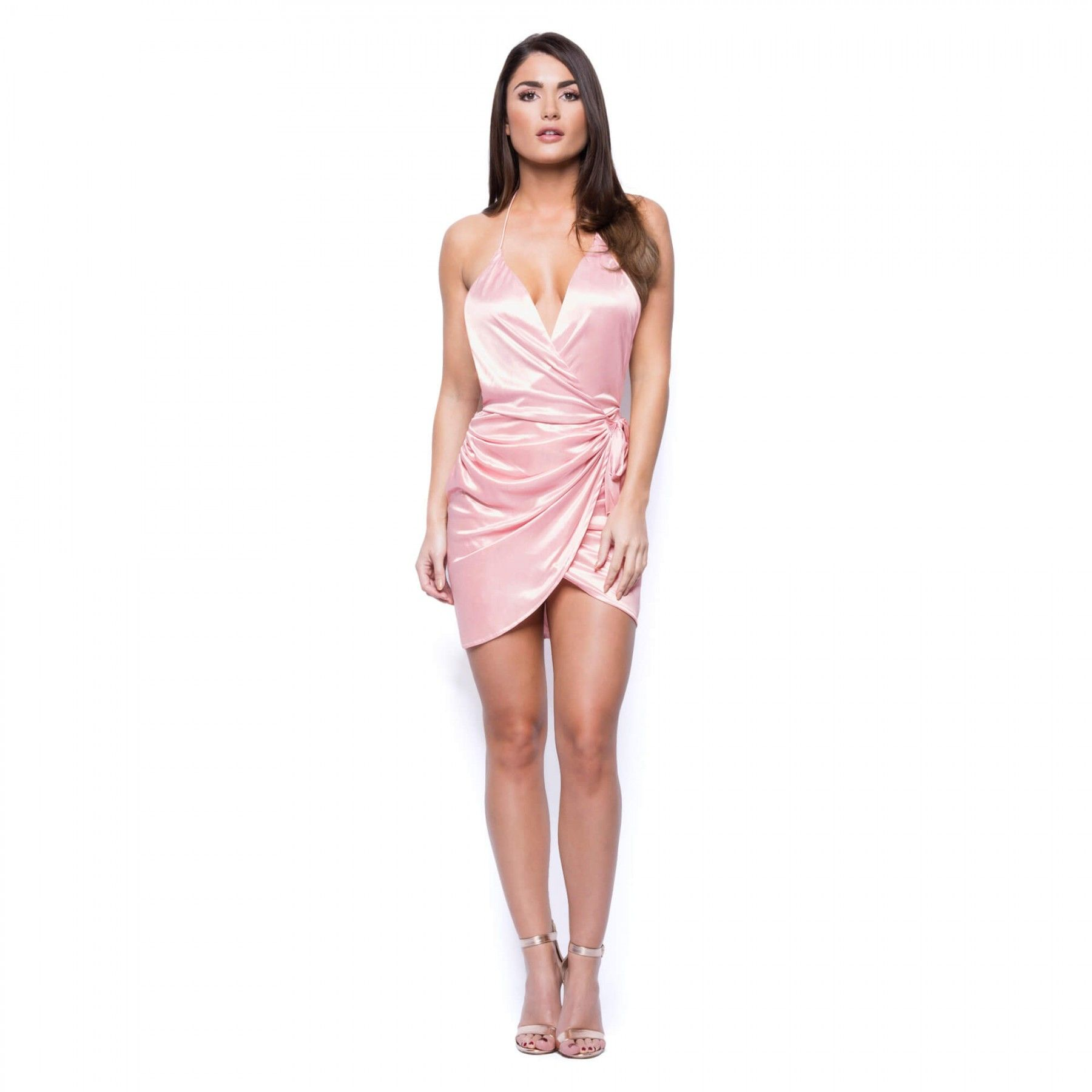 Pink Satin Short Dress