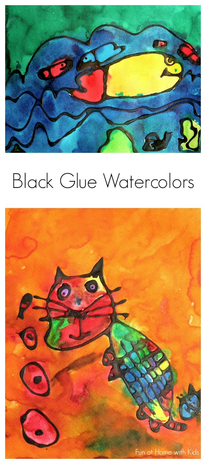 Black Glue Watercolor Painting Diy Craft Art Activities