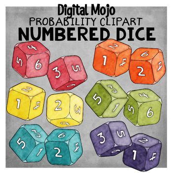 Numbered 3D Dice – Probability Clipart | Colors, Yellow and Clip art