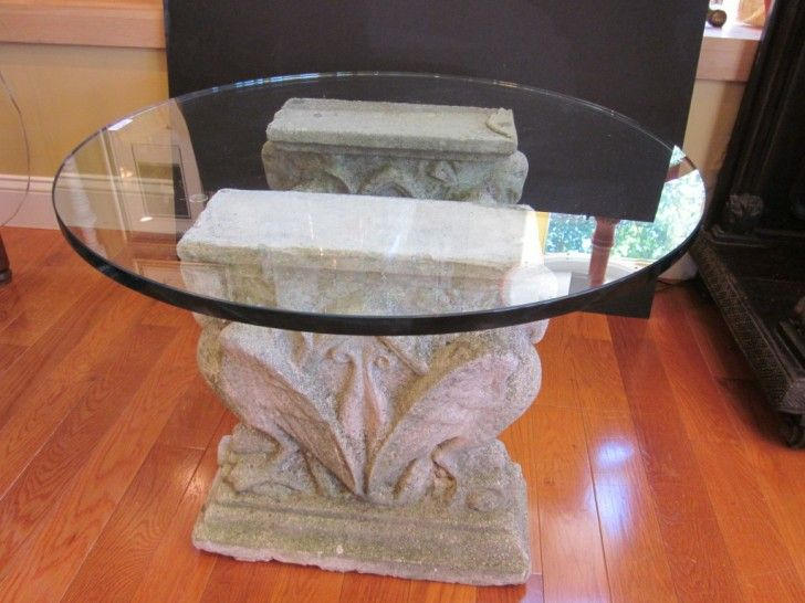 Exquisite Glass Top Dining Table Bases: Engaging Round Glass Top Table Bases  For Coffee Table With Antique Cement Pedestals Bases And Wooden Flooring  Ideas ...