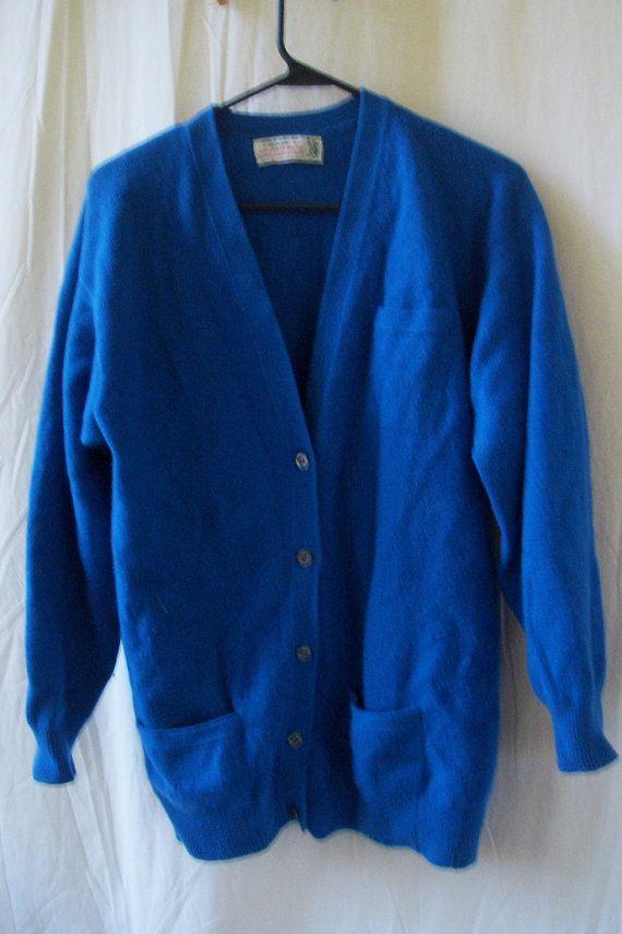 Vtg Scotch House cobalt blue cardigan sweater by thebirdi on Etsy ...