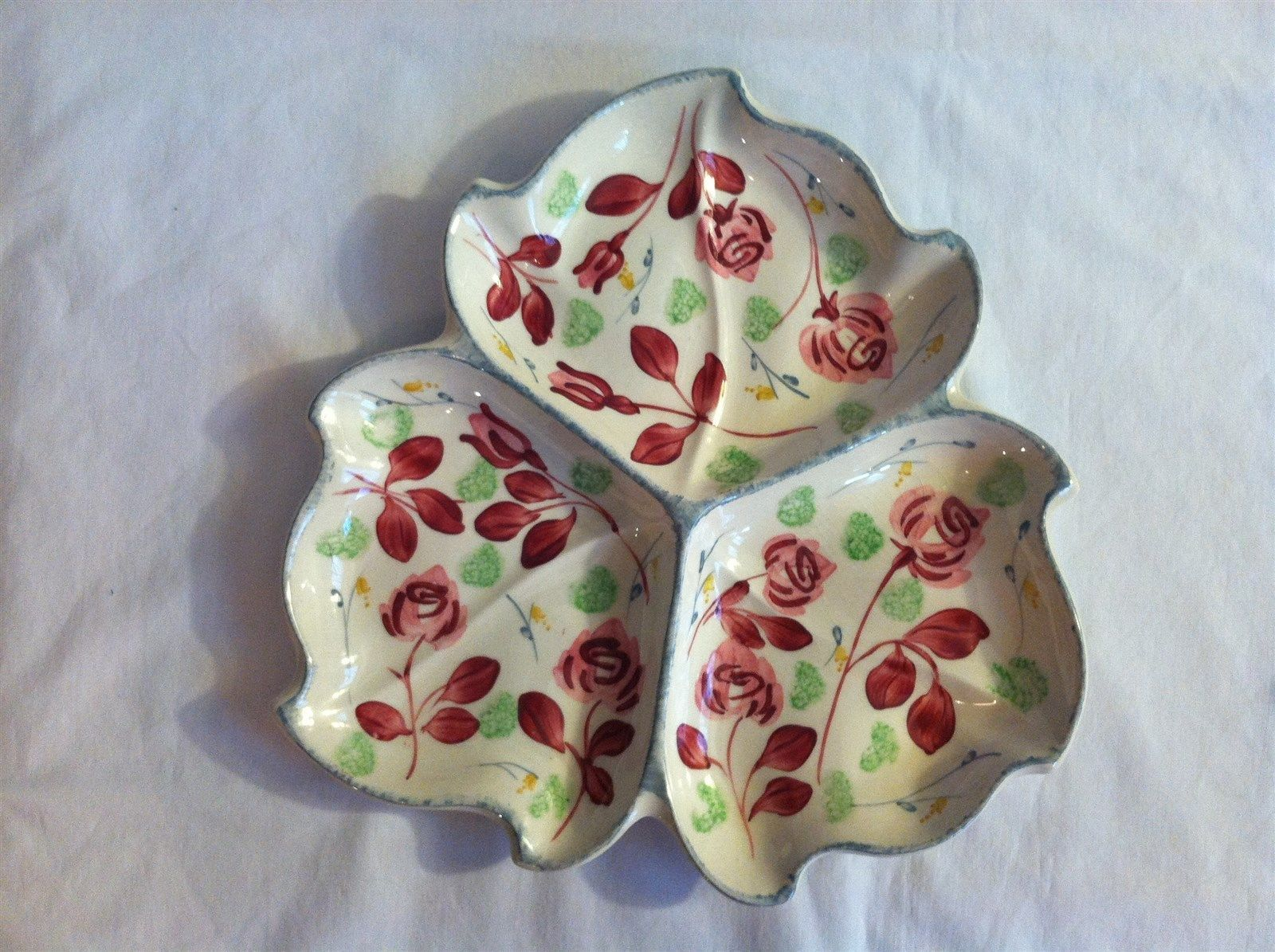 Blue Ridge Southern Potteries - 3 Part Martha Tray - Rose Parade picclick.com