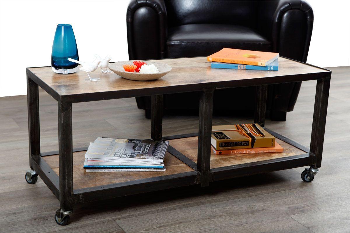 Table basse meuble tv bois massif et m tal industriel atelier roll zoom meubles pinterest - Table atelier industriel ...